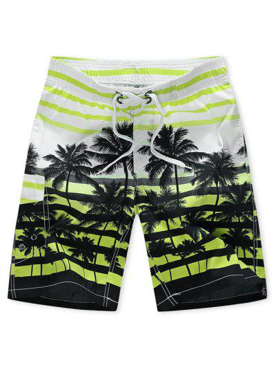 Palm Tree Striped Vacation Beach Shorts - Mint Green 4xl
