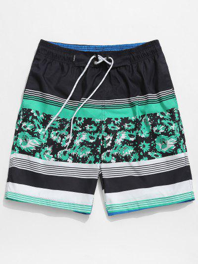 Floral Stripes Hawaii Board Shorts - Turquoise M