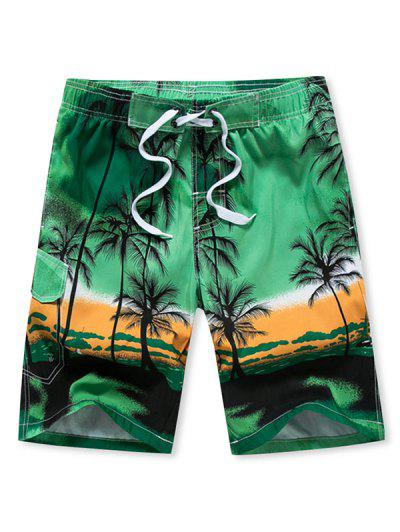 Palm Tree Ombre Hawaii Beach Shorts - Green Peas L