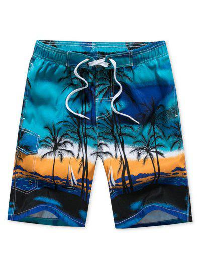 Palm Tree Ombre Hawaii Beach Shorts - Deep Sky Blue L