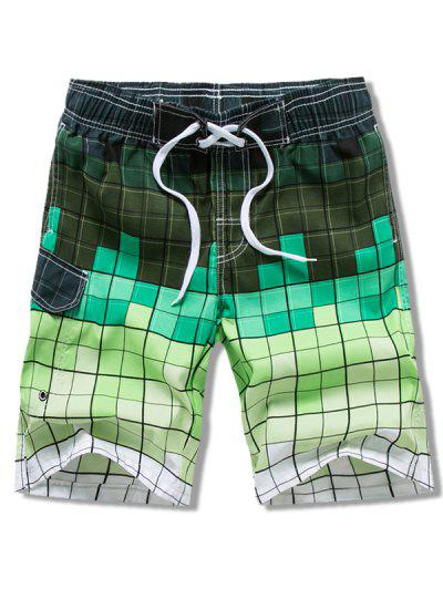 Ombre Checkered Vacation Board Shorts - Green 3xl