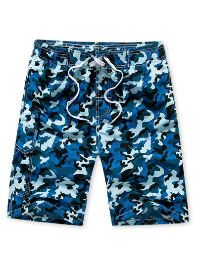 Camouflage Print Beach Shorts - Day Sky Blue 3xl