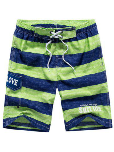 Colorblock Letter Printed Drawstring Beach Shorts - Yellow Green 3xl