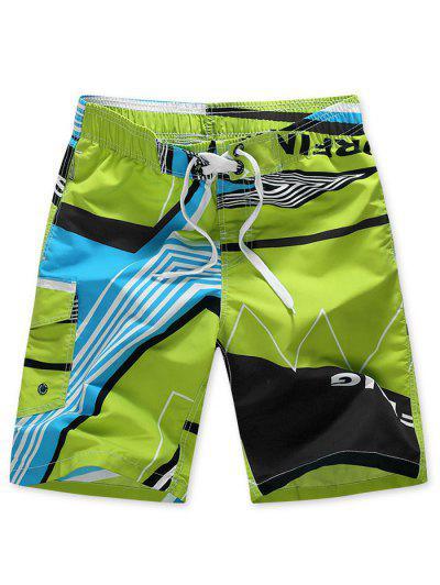 Striped Geo Graphic Beach Shorts - Green 4xl