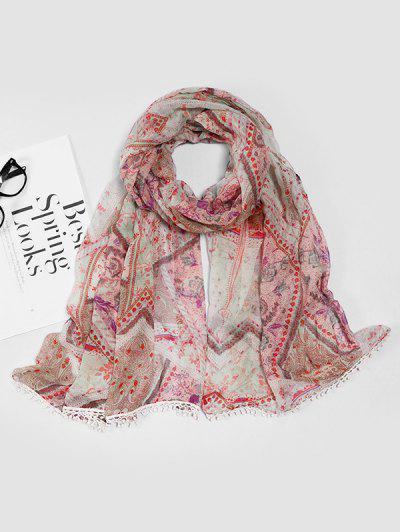 Paisley Print Lace Edge Scarf