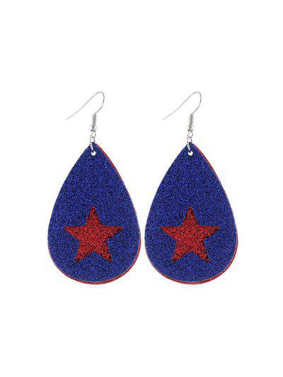 Star Flag Pattern Glitter Earrings - Multi-c