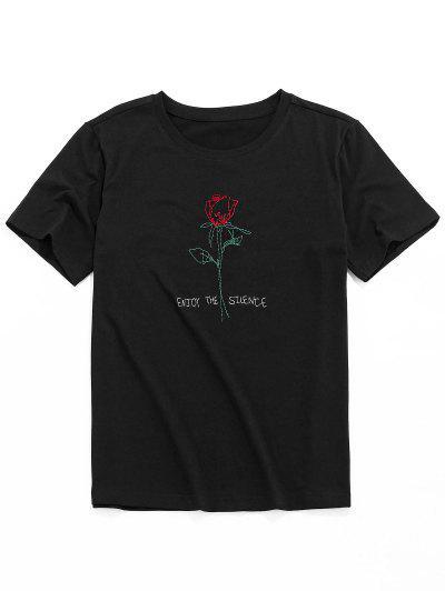 ZAFUL Short Sleeve Rose Pattern Embroidery T-shirt - Black M