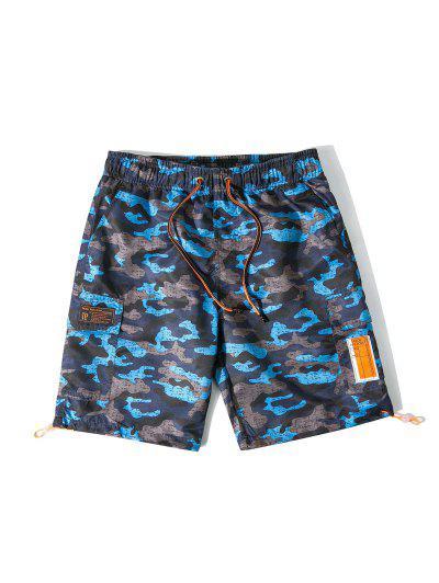 Camo Swimming Board Shorts With Flap Pocket - Ash Gray 2xl