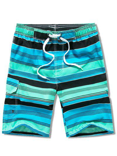 Drawstring Striped Swimming Beach Shorts With Flap Pocket - Turquoise 3xl
