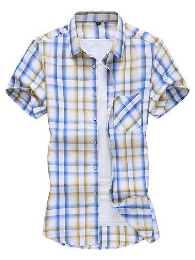 Kariertes Taschen Patch Knopf Hemd - Sonne Gelb 2xl