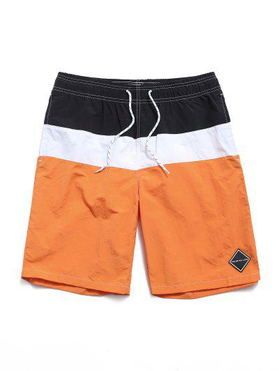 Colorblock Panel Beach Shorts - Sandy Brown L