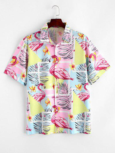Flamingo Tropical Leaf Print Hawaii Vacation Shirt - Multi-a L