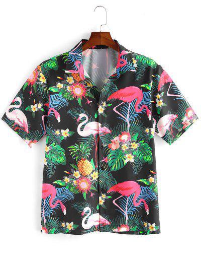 Flamingo Tropical Plant Print Hawaii Vacation Shirt - Multi-a 2xl