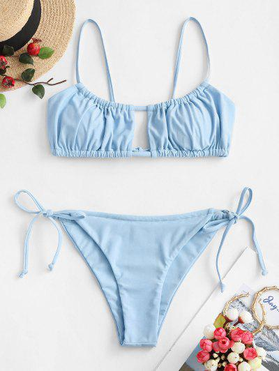 ZAFUL Ruched Tie Side Bikini Swimsuit - Light Sky Blue S