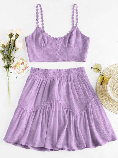 ZAFUL Flower Applique Button Up Mini Skirt Set - Mauve M