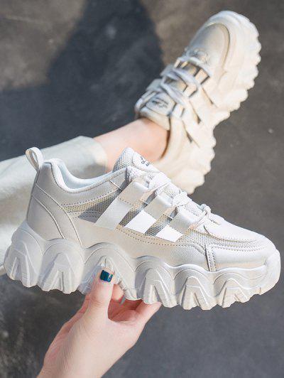 Sneaker Con Piattaforma Traspiranti Con Piattaforma E Motivo A Zigzag - Bianco Caldo Ue 40
