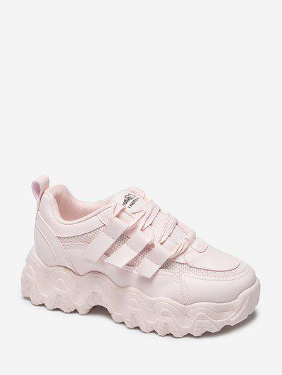 Zigzag Insole Breathable Platform Running Sneakers - Pink Eu 39
