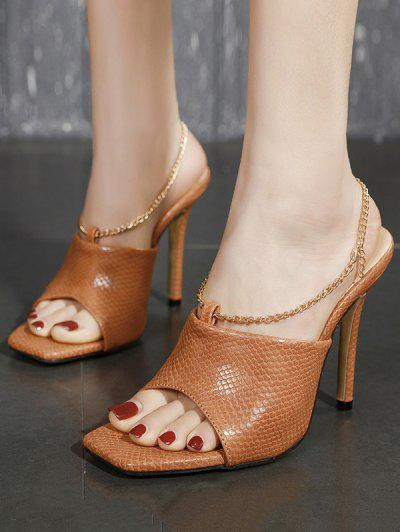 Metal Chain Leather Super High Heel Sandals - Brown Eu 37