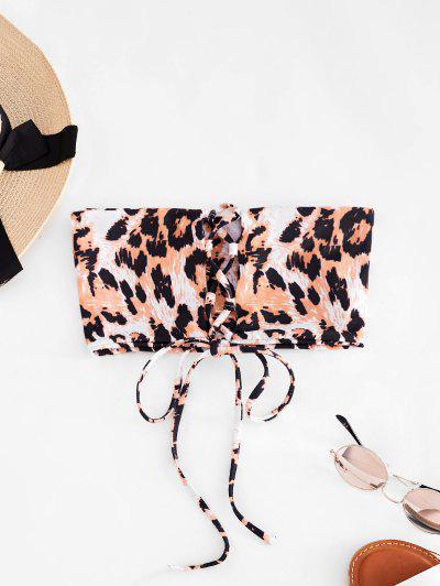 ZAFUL Animal Print Lace-up Bandeau Bikini Top - Tangerine S
