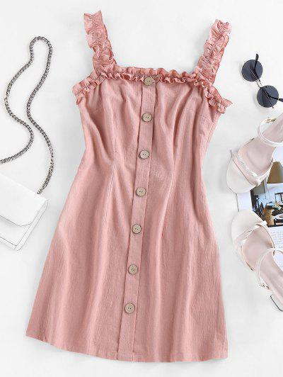 Lettuce Trim Mock Button Mini Dress - Rose S