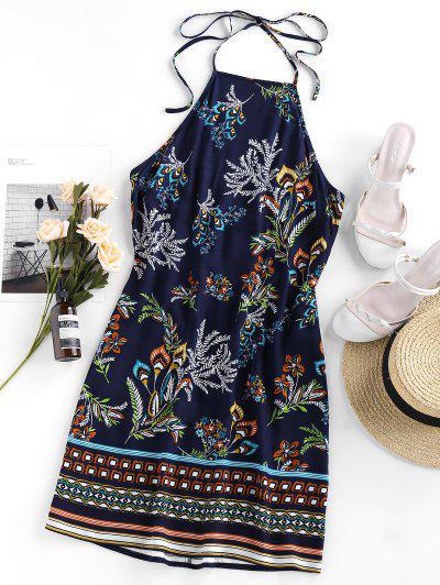 Bohemian Flower Print Halter Mini Dress - Cadetblue S