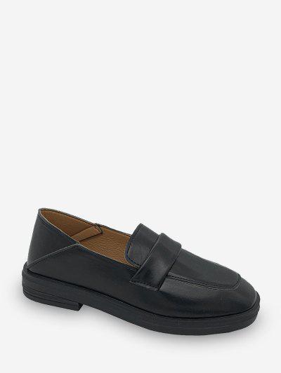 Square Toe Leather Slip On Flat Shoes - Black Eu 38