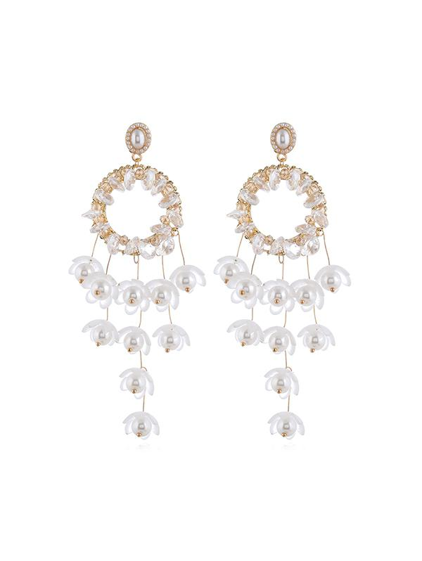 Floral Faux Pearl Fringe Earrings