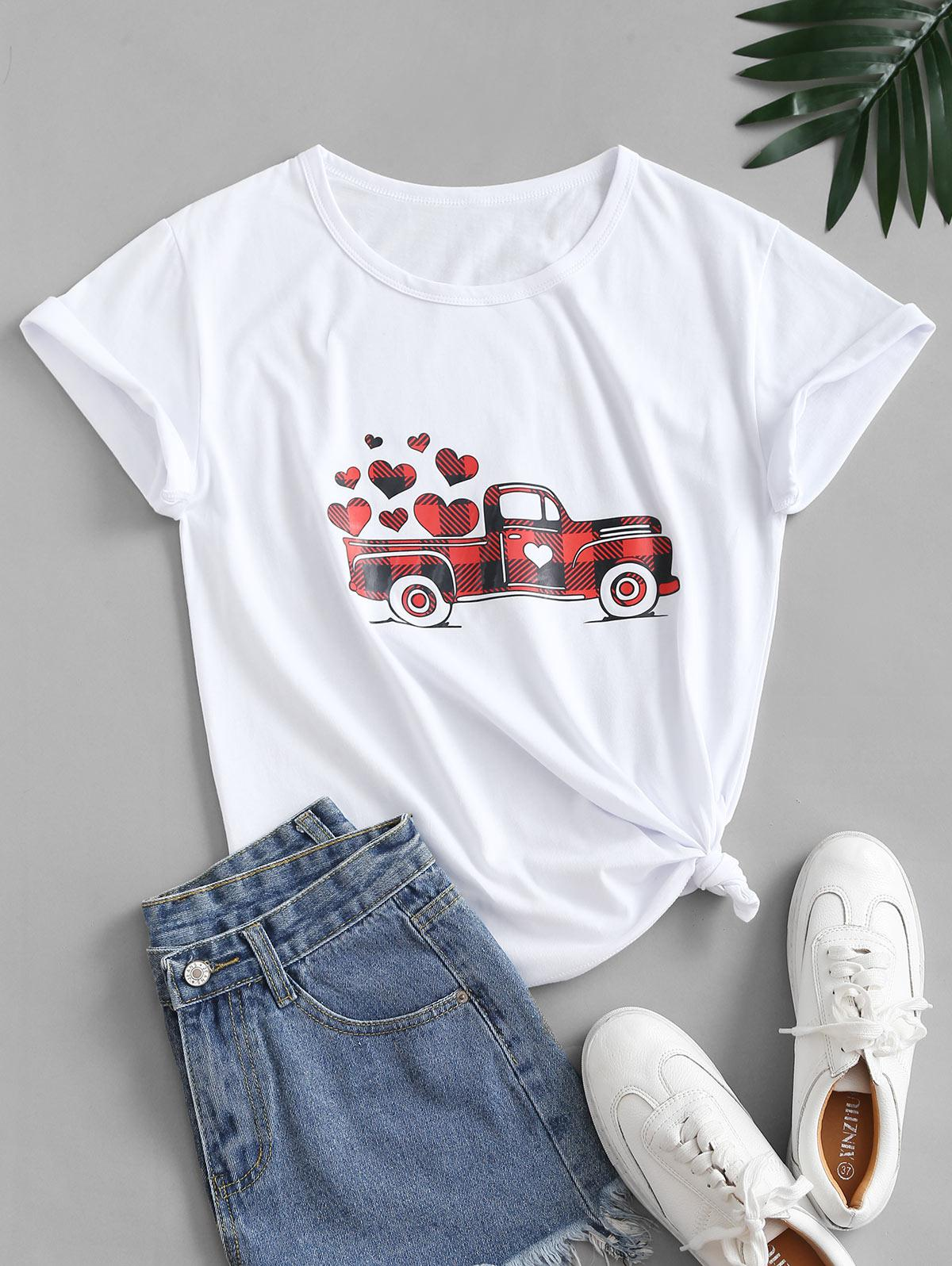 Valentine Heart and Car Graphic Cotton Knot Tee