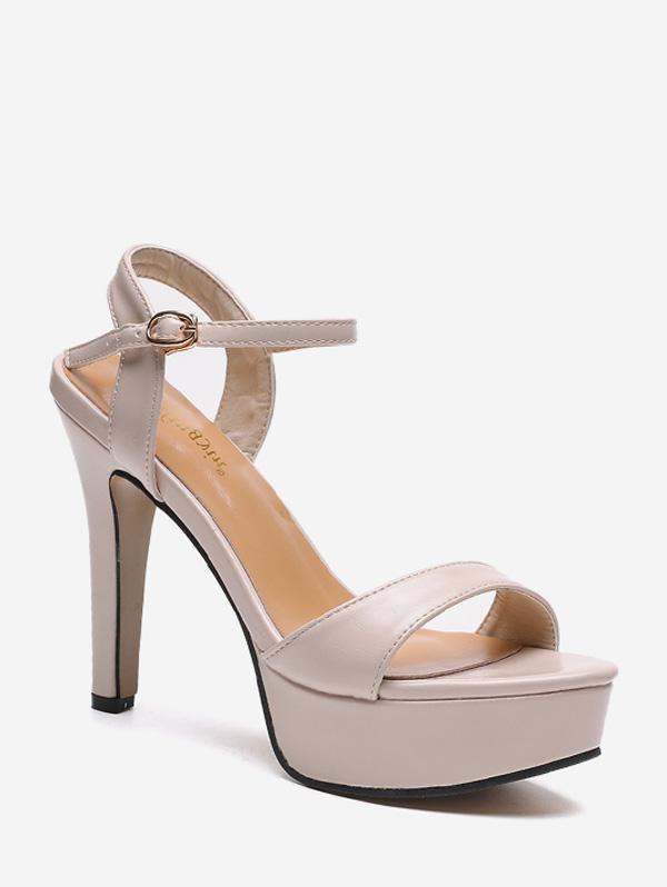 Platform Leather Ankle Strap High Heel Sandals