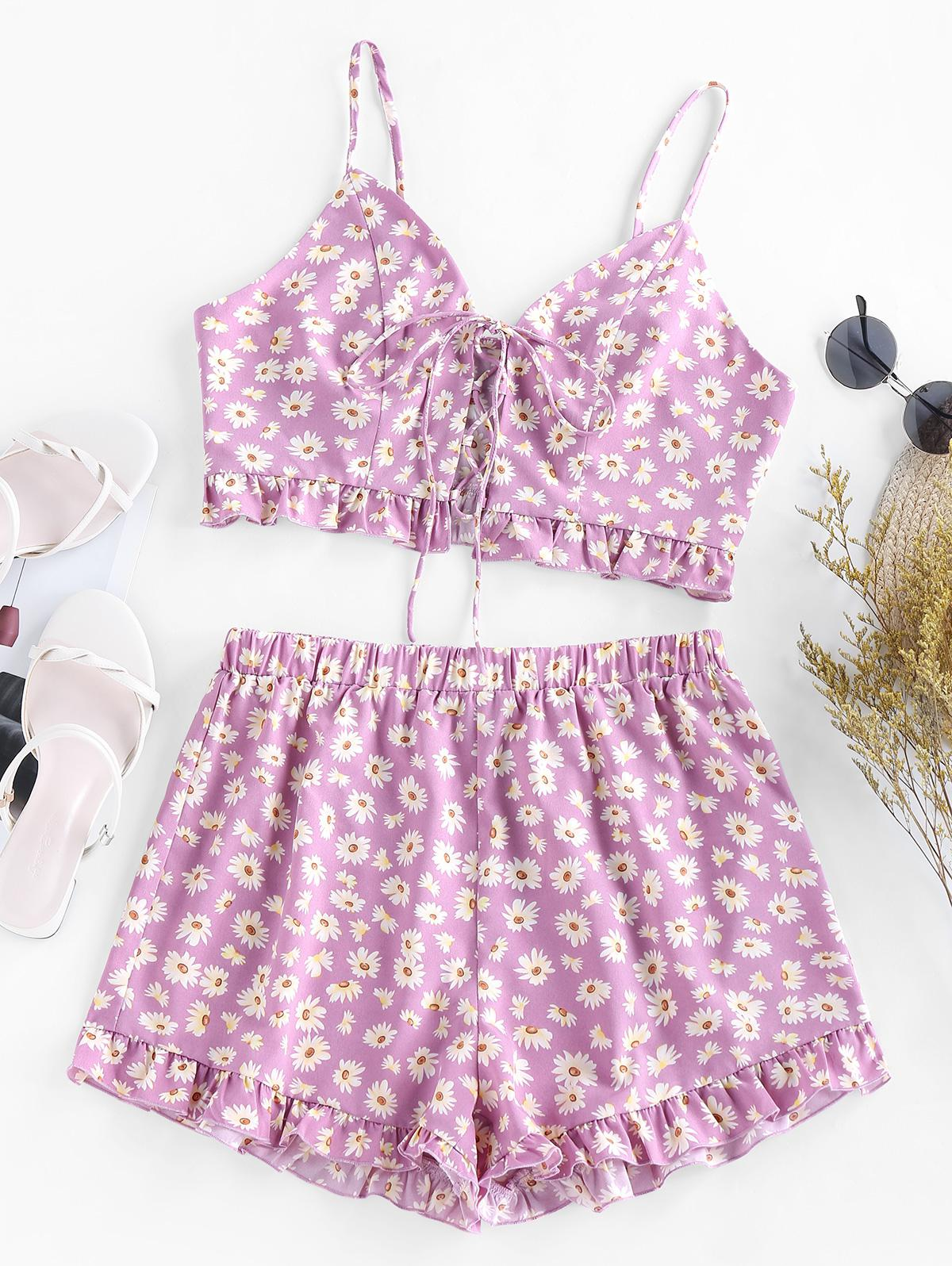 ZAFUL Daisy Floral Lace Up Ruffle Cami Two Piece Set