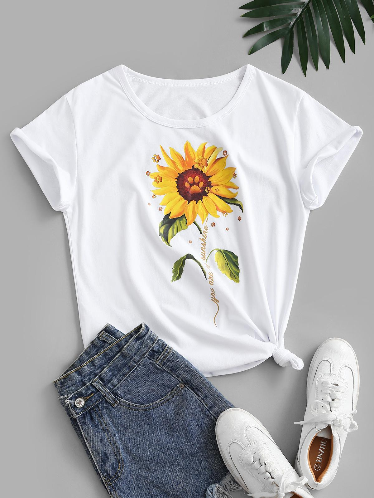 Knotted 3D Sunflower Print Basic Cotton Tee