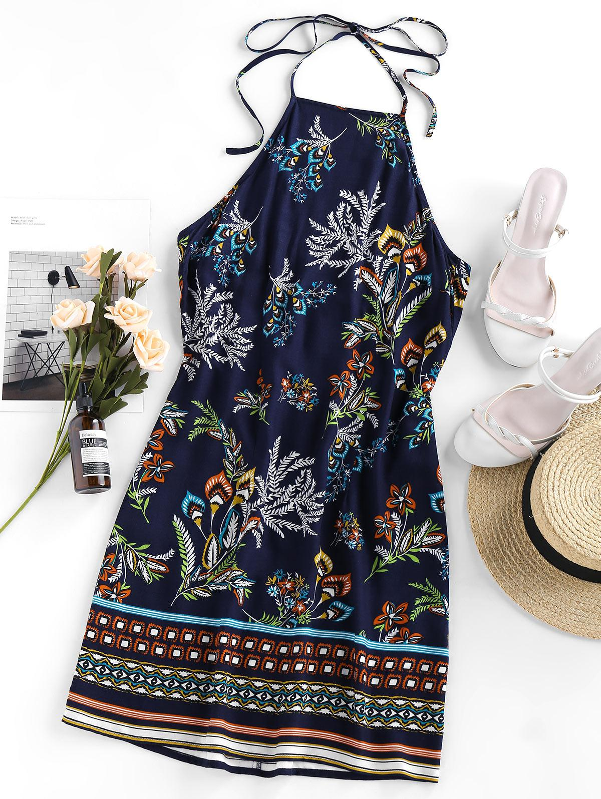 Bohemian Flower Print Halter Mini Dress