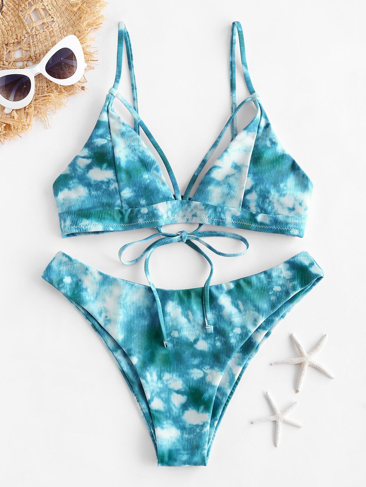 ZAFUL Tie Dye Strappy Bikini Swimsuit thumbnail