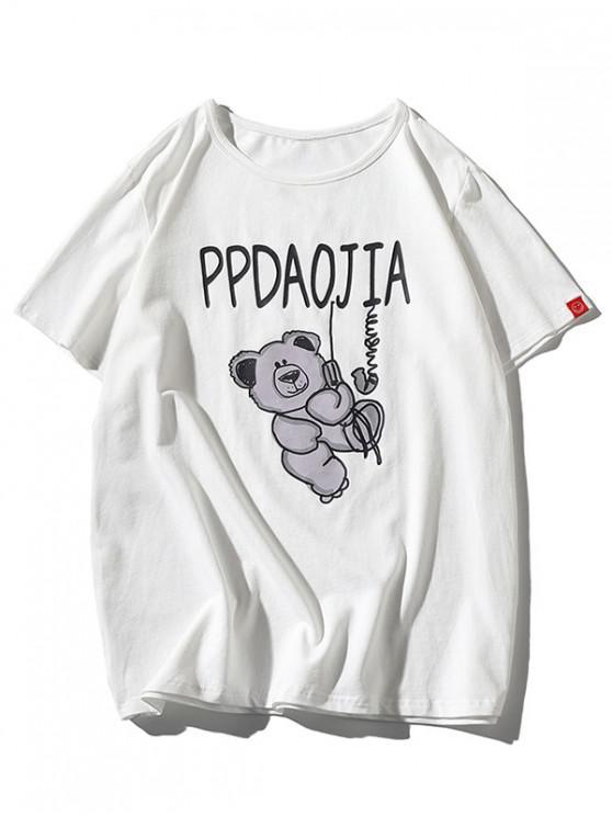 lady Cartoon Bear Print Round Neck T-shirt - WHITE 3XL