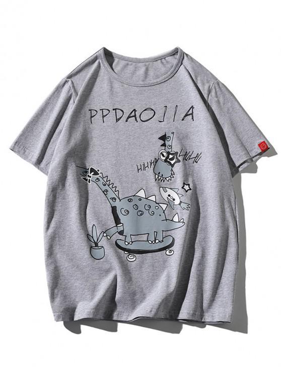 new Cartoon Giraffe Print Casual T-shirt - LIGHT GRAY 3XL