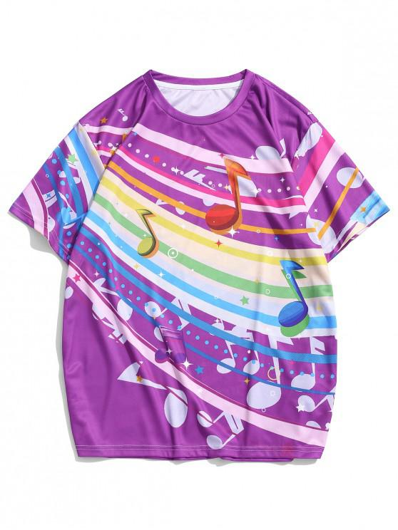 outfit Colorful Music Note Print Casual Crew Neck T Shirt - MULTI 3XL