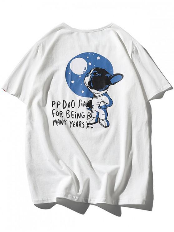 Cartoon Hund Buchstabedruck Lustiges T-Shirt - Weiß 2XL