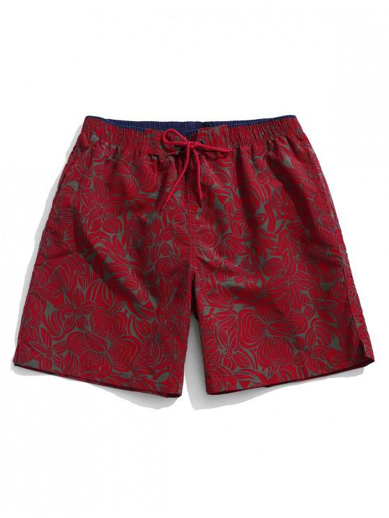Shorts de Playa con Estampado Total de Flores con Cordones - Vino Tinto M