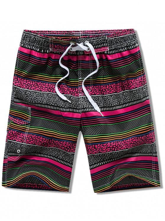 Pantaloncini da Spiaggia a Righe con Coulisse e Tasca con Patta - Rosso Roseo 3XL