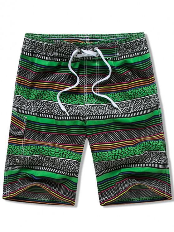 ladies Flap Pocket Drawstring Striped Swimming Board Shorts - GREEN 3XL