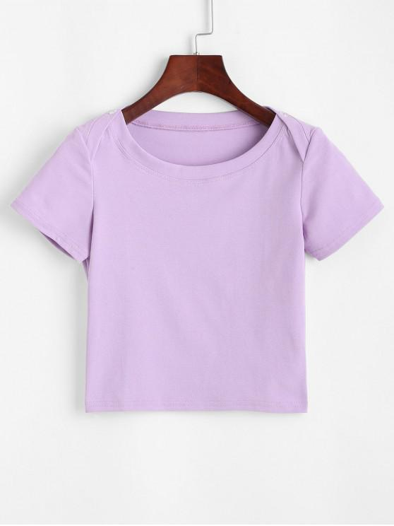 hot Buttons Solid Crop Tee - PURPLE S