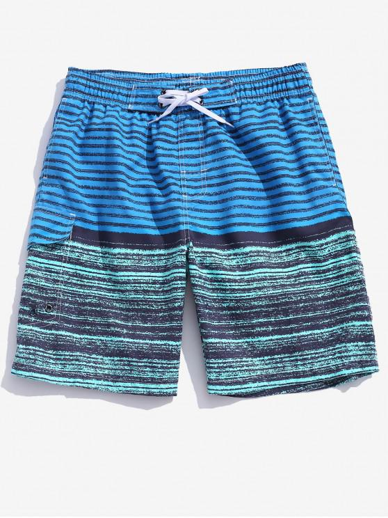 unique Colorblock Stripes Board Shorts - DODGER BLUE XL