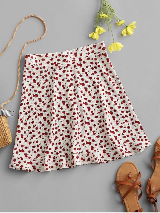 latest Tiny Floral Ruffles Mini Skirt - WHITE L