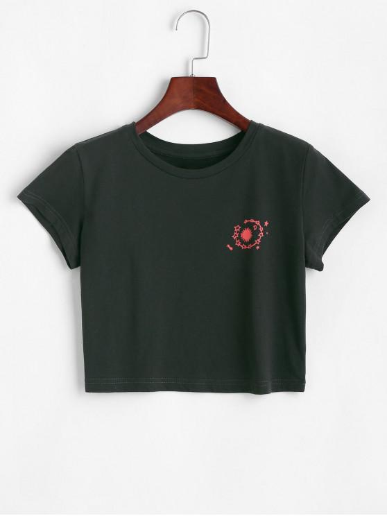 Sterndruck Crop T-Shirt mit Rundhalsausschnitt - Schwarz L