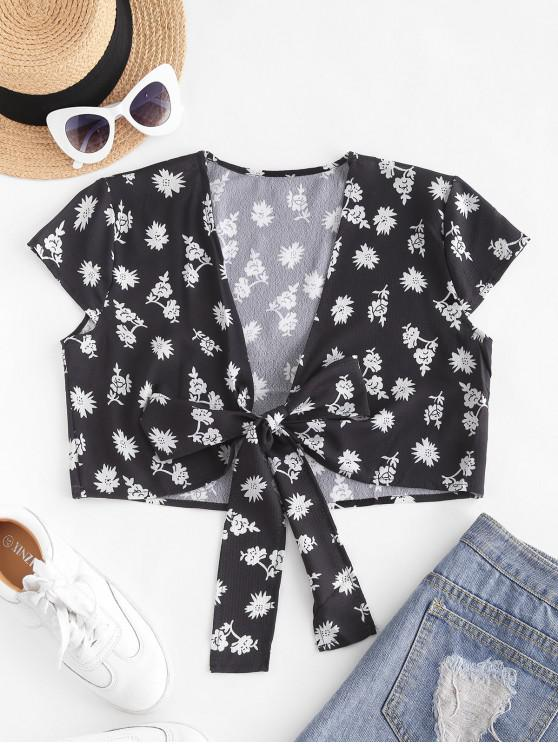 Ditsy Floral Cropped Tie Front Blouse - أسود M