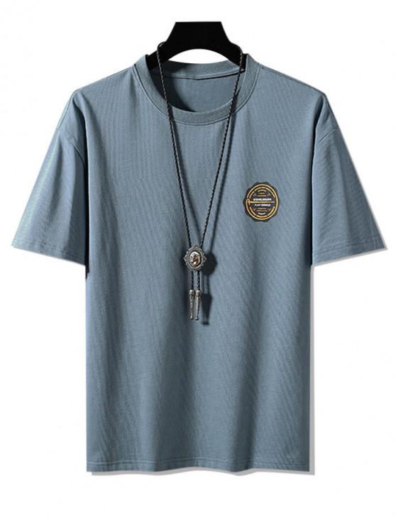 chic Graphic Print Basic T Shirt - MIST BLUE 3XL