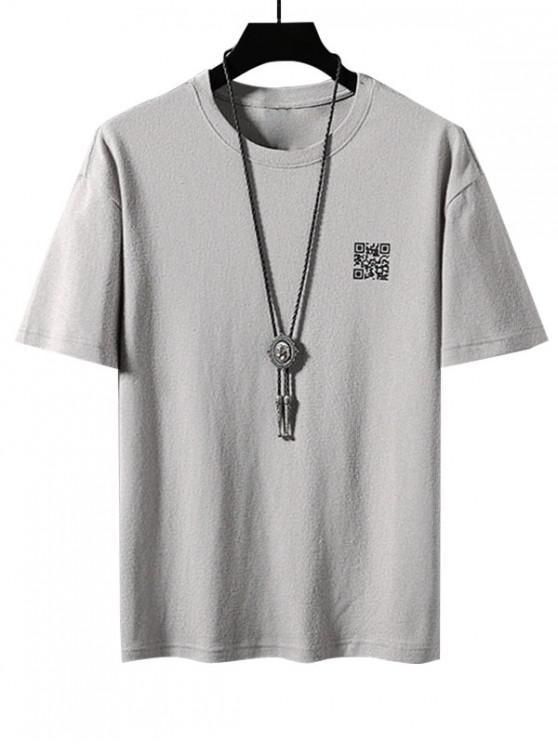 QR Code Graphic Print Basic T-shirt - رمادي فاتح 3XL