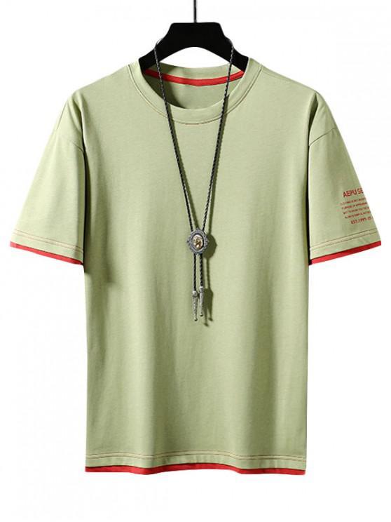 Buchstabendruck Farbblock Ringer T-Shirt - Gelb Grün L