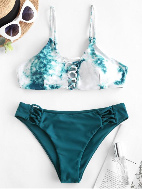 ZAFUL Lattice Tie Dye Bikini Swimwear - الطاووس الأزرق M