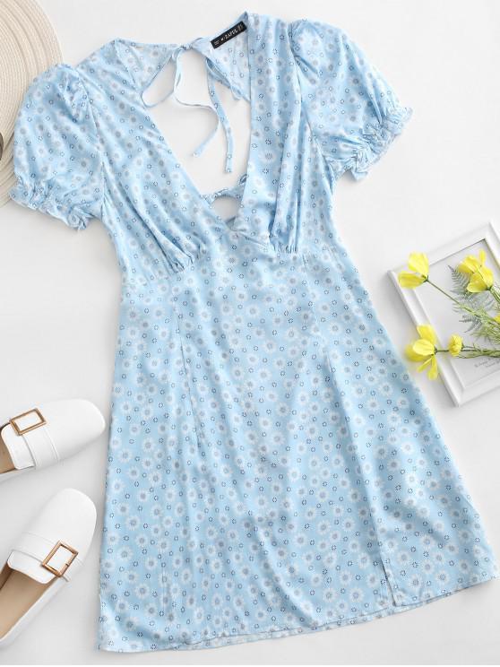 sale ZAFUL Ditsy Floral Low Cut Tie Cutout Slit Dress - BLUE L